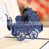 New arrival 3D handmade decoration birthday greeting card baby carriage designs