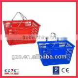 Gray Handheld 30L Plastic Shopping Basket with Double Metal Handles for Supermarket Retail Store