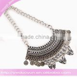 Yiwu manufacturer silver plating dangling statement necklace coin and diamond charm necklace