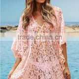 Lace Blouse For Ladies Sexy Summer Beach Cover Up Half Sleeve Hollow Out Blouse MK-KF004