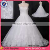 Real images newest style Appliqued lace skirt ball gown wedding gown for beach