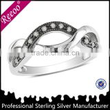 Sterling Silver Black and White Pave CZ Twist Infinity Band Ring