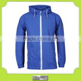 customzied plain blue nylon fashion jacket