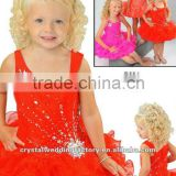 2013 new arrival beaded ruffled tangerine flower girl kid dress CWFaf4432