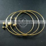 65mm diameter 14K light gold plated brass double beads screw top adjustable DIY wiring bracelet bangle supplies 1900095