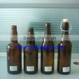 16 oz Clear Glass Beer Bottles for Home Brewing 12 Pack with Flip Caps