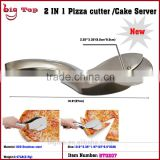 BT0207 2 in 1 Stainless Steel Pizza Cutter & Pizza Cutter Clip Pizza Cutter Tongs 2 in 1 Pizza Cutter & Cerver
