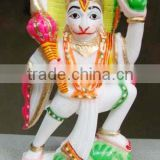 Alabaster Marble Hanuman Ji Colored Idols