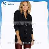 wholesale plain blank custom women black roll sleeve shirts slim fit denim jean shirts