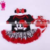 China supplier 3pcs red and black princess short sleeve romper sets import from china