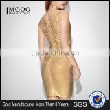 MGOO High Quality Wholesale OEM/ODM Gold Bandage Spandex Dress For Ladies Mini Bodycon Sheath Sexy Club Dress H838