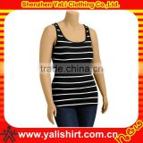 Custom comfortable scoop neck stripe tight cotton racerback tank tops lycra fabric for gym wear