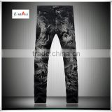 New Black Jeans Men denim Dragon Pattern Mens Slim Fit Denim jeans