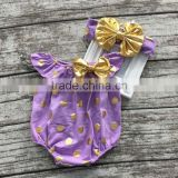 baby girls clothes toddler girls romper infant girls purple gold polka dot romper with headband