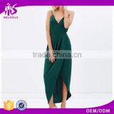 2016 Guangzhou Shandao Factory Summer Spaghetti Strap Backless Back Zipper Sexy Elegant Green Very Cheap Dresses