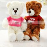 white and brown custom diffrent size plush teddy bear toys in clothes for promotion