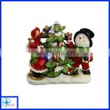 resin snowman -christmas decorating tree scene with lights
