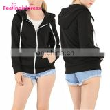 Fashion Autumn And Winter Drop Shoulder Black Jacket Zip Up Oversized Hoodie