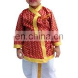 Indian kids Om Print Saffron Dhoti Kurta, Boy's Traditional Angrakha Set, Dhoti suit, kids baby wear, Ethnic dress.
