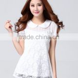 2015 Summer Hot Sale Factory White short Sleeve Lace Blouse for woman