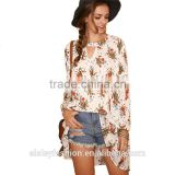 Women Blouses Long Sleeve Hot New Fashion 2016 Ladies Tops Multi Color Keyhole Front Floral Print High Low Blouse B004