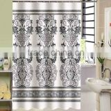 100% polyester luxury flower print design shower curtain for hotel, family, waterproof bath curtain