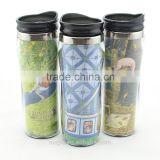 Paper Insert Coffee Travel Mug,Double Wall Plastic Coffee Mug with Lid