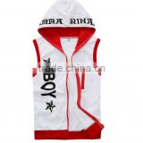wholesale fashion printing plain white sleeveless hoodie t shirt boys
