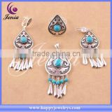 New model jewelry set stud earring thai silver blue turquoise fashion jewellery for young people (6308T5-1)