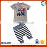2016 Fashion design of baby boys clothing two pecies cotton short tshirt and pants kids clothing (uk-02222)