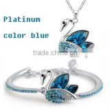 platinum jewelry set color blue necklace and bracelet dream Swan jewelry set
