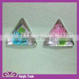Wholesale 28*28 mm triangle hand painted flower flat back resin rhinestone expoxy gems
