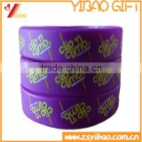 Printed logo custom design silicone rubber wristband, promotional gift silicone rubber bracelet