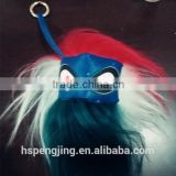 Real lame fur monster face keychain in red and white color with good OEM service for bags in hot fashion for girls