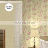 buy deep embossed pvc wallpaper, beige pastoral plant wall covering for office , environmental-friendly wall decor distributor