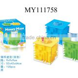 Hot selling!! Clear plastic money maze box secure coin box plastic coin box 3colors mixed