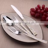 gold plated cutlery with sanding blast stainless steel cutlery