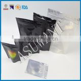 "25 Clear/Black 4""x7"" Foil Pouches Hang Hole Mylar Zip Bag Food Safe Smell Proof"