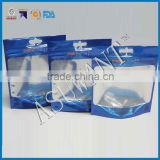 Blue color custom printing fish hooks packaging zip lock bag for bait with hang hole