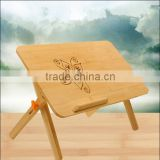 Beauty Carvened flower Solid Bamboo Collapsible Folding of Table Laptop Stand new design laptop bed desk