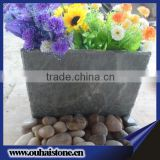 Durable use irregular shape natural slate stone black flower pot