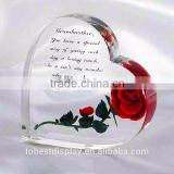 China Acrylic Heart Shape Rose Gift Engraved Christmas Gifts Decorations Customized inscription