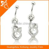 Belly Button Piercing Rings with Crystals, Wholesale Body Piercing Jewelry Factory, Cute Owl Dangle Navel Rings