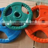 Alibaba China colorful cast iron rubber coated weight lifting plates barbell plates