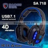 Brand Sades SA-718 Professional Gaming Headset With Microphone Leather Earbuds Volume Control LED Light earphones for PC Gamer