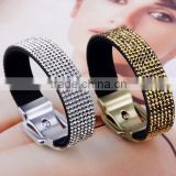 Wide Gold silvery Plating Magnet Closure Cuff Genuine Leather with Rivet Diamond Ring charm Bracelet /magnetic bangles wholesale