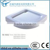 Factory made directly TB-T002 corner cheap deep fiberglass acrylic abs/acrylic shower tray with ss grate