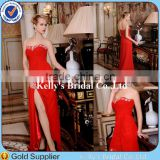 sexy women in night town split leg red crystal bead sweetheart pleated evening dresses empire couture