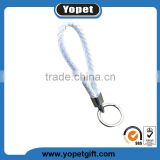 Custom cheap pu leather braided neck starp key chain lanyard