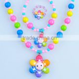Wholesale kids beads polymer style clay color flower bracelet necklace ring Kids Jewelry Set